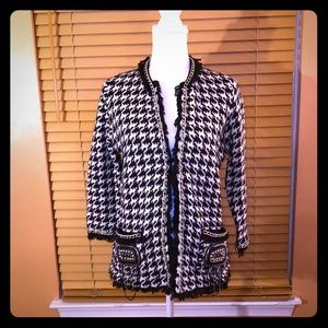 ZARA KNIT Houndstooth sweater with chain Large